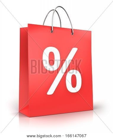 3D render illustration of red color paper shopping bag with percent text sign or symbol isolated on white background with reflection effect