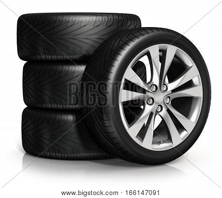 3D render illustration of the set of car wheels isolated on white background with reflection effect