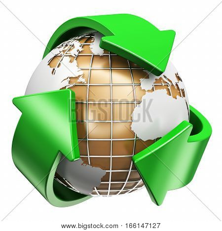 3D render illustration of corrugated cardboard earth planet world globe map and green arrow signs or symbols logo isolated on white background