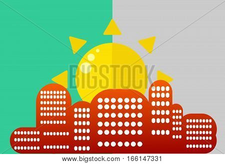 Sun over the city. Beautiful and simple landscape-style flat against the blue sky. Silhouette buildings with windows to the foreground.
