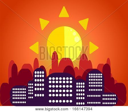 Morning cityscape in the sunlight in the flat style. A striking contrast between the silhouettes of houses and dawn.