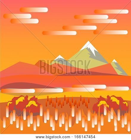Mountain autumn morning landscape in flat style. A beautiful and romantic views of the beautiful valley.