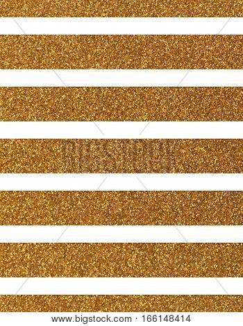 Wide glittery golden lines on a white background. The texture of the glitter. Rectangular, vertical