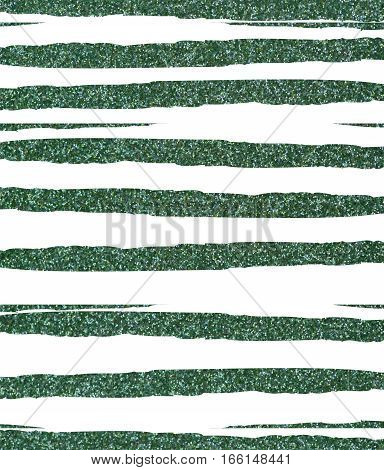 Green ragged, uneven glittery stripes on a white background. The texture of the glitter. Rectangular, vertical.