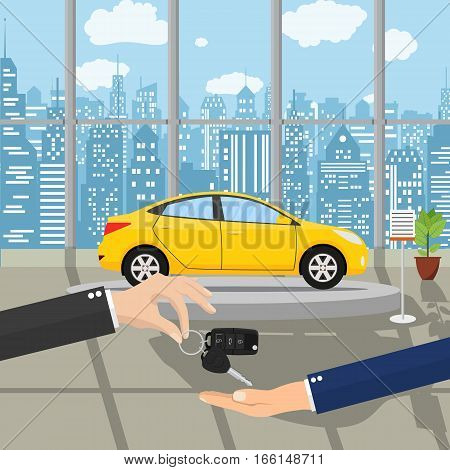 hand gives car keys to another hand. buy, rental or lease a car. Exhibition Pavilion, showroom or dealership with yellow car, vector illustration in flat style