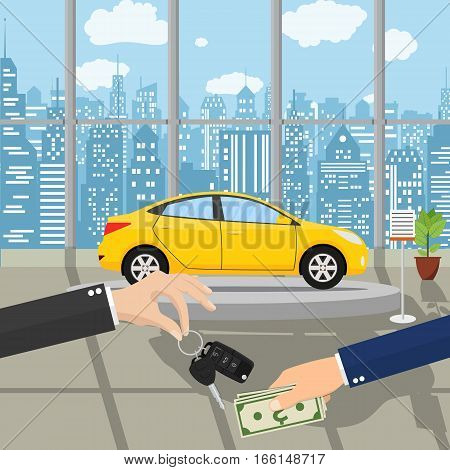 hand gives car keys to another hand. buy, rental or lease a car. Exhibition Pavilion, showroom or dealership with yellow car, vector illustration in flat style. Hand holding money