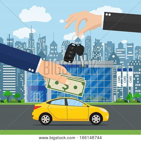 hand gives car keys to another hand. car rental or sale concept. Customer buying car from dealer concept. vector illustration in flat style. Hand holding money