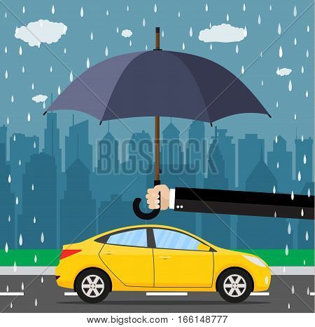 Hand with umbrella that protects car. citiscape as background. vector illustration in flat style