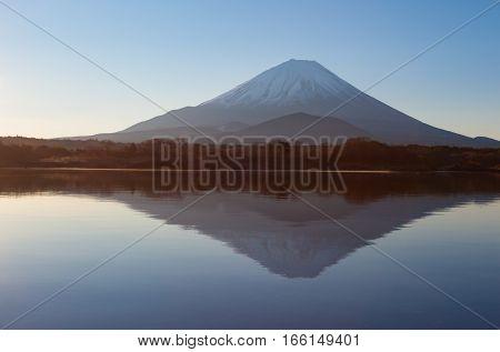 Mountain Fuji and Lake Shoji in morning
