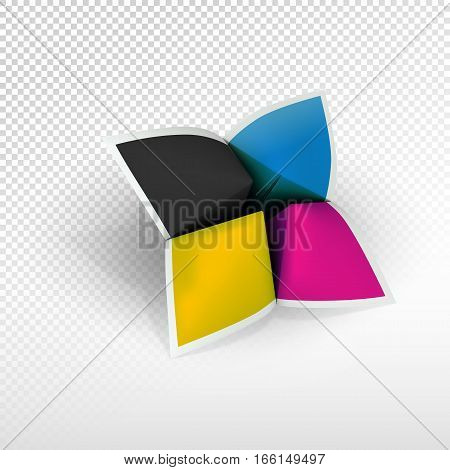 Fortune teller with CMYK colors. Poligraphy emblem for identity and advertising design. Blank square leaflets with 4 wings on light grey in perspective