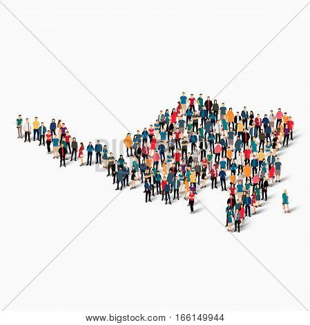 Isometric set of styles, people, map of Sint Maarten, country, web infographics concept of crowded space, flat 3d. Crowd point group forming a predetermined shape. Creative people. Vector illustration. Photo vector.3D illustration. White background . Isol