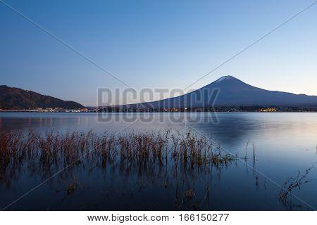 Mountain Fuji and Kawaguchiko lake in evening autumn season