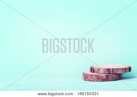 Cross Section Of Tree Trunk On Green Background