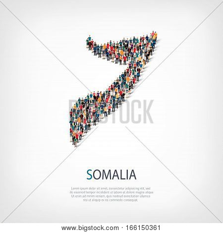 Isometric set of styles, people, map of Somalia, country, web infographics concept of crowded space, flat 3d. Crowd point group forming a predetermined shape. Creative people. Vector illustration. Photo vector.3D illustration. White background . Isolated.