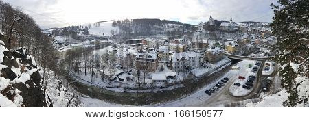 Panoramic picture of Schwarzenberg town from Ottenstein in Germany during the winter