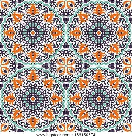 Vector of seamless Islamic ornaments in blue and orange colors