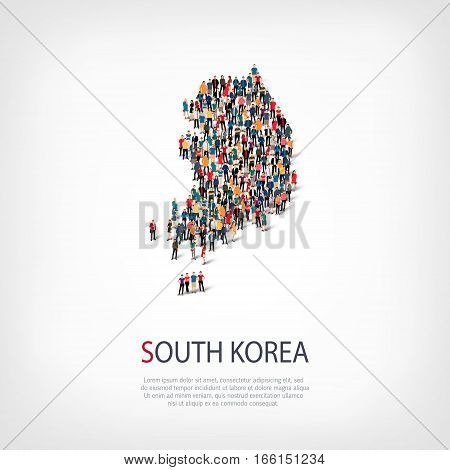 Isometric set of styles, people, map of South Korea, country, web infographics concept of crowded space, flat 3d. Crowd point group forming a predetermined shape. Creative people. Vector illustration. Photo vector.3D illustration. White background . Isola