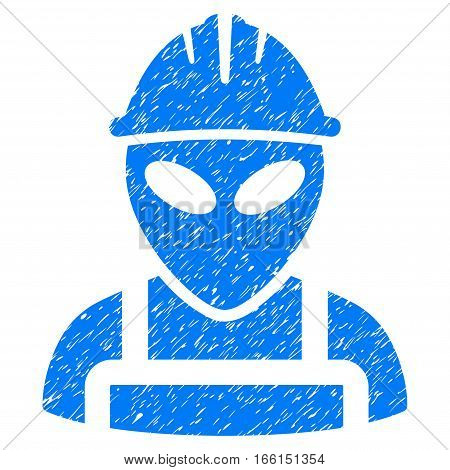 Alien Worker grainy textured icon for overlay watermark stamps. Flat symbol with dust texture. Dotted vector blue ink rubber seal stamp with grunge design on a white background.