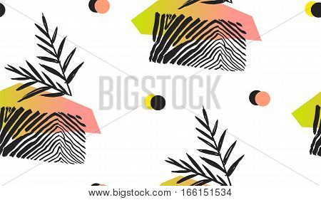 Hand made abstract summer exotic jungle plant tropical palm leaves seamless pattern isolated on white background. Tribal unusual print with wild animal motif.Nature wallpaper.Trendy Polka dot texture.
