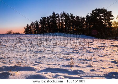 Winter landscape at sunset and silhouettes of trees. Moravian landscape Kunstat.