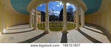 Panorama view Colonnade echo . The city park Alexandria Bila Tserkva. Ukraine.