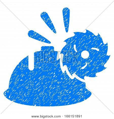 Circular Blade Head Protection grainy textured icon for overlay watermark stamps. Flat symbol with dust texture. Dotted vector blue ink rubber seal stamp with grunge design on a white background.