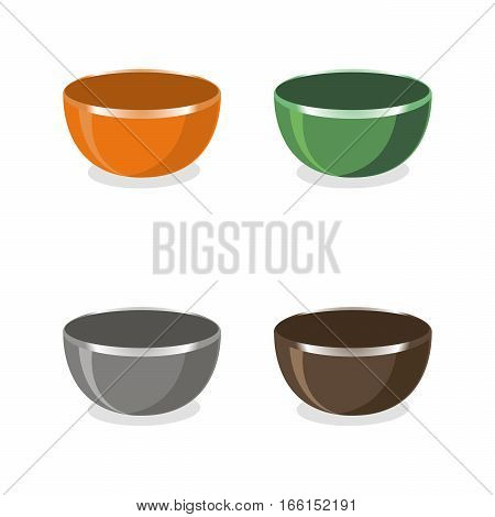 Abstract vector illustration of logo for empty colorful ceramic bowl,organic natural product closeup on background.Soup set of four bowls drawing consisting of cooking collection,design kitchen Bowls.