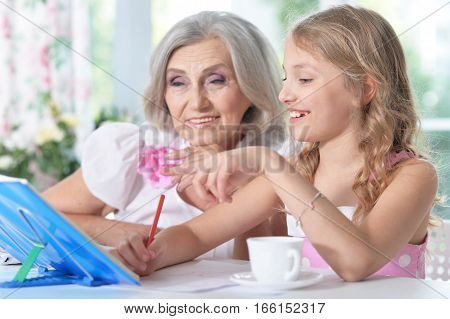 Portrait of a grandmother with her granddaughter doing homework