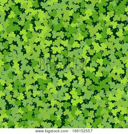 Cloverleaf Shamrock Green Seamless Saint Patricks Day Pattern Background. Pattern Texture for Wallpapers, Fills, Web Page, Surface, Wrapping Paper, etc. Vector Illustration for Holiday Design.