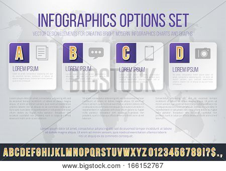 Business Violet Colored Bright Infographics Vector Font Set for Options. Template for brochure, business charts, web design and posters