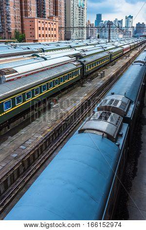 rails network At Railroad Station of Shanghai, China.