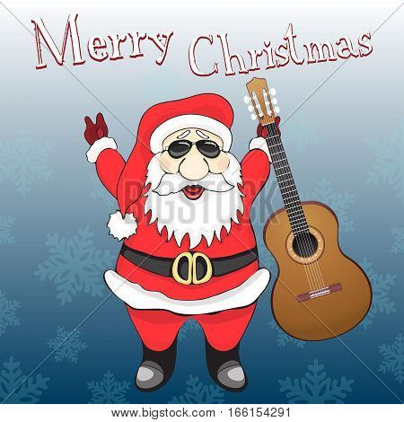 Merry Christmas Card. Funny Rock And Roll Santa Claus In Sunglasses With Guitar, On A Blue Backgroun