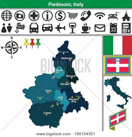 Piedmont With Regions, Italy
