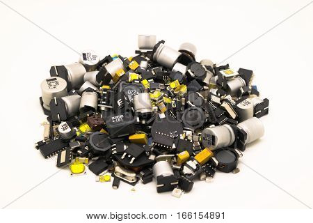 Different electronic SMD components in one pile.