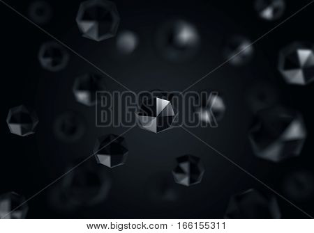 3D chotic low polygon background sci-fi concept