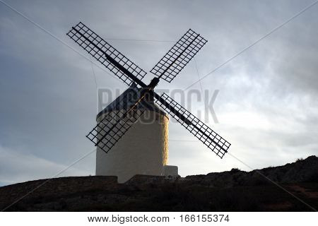 windmills in Castilla La Mancha, Spain places to grind grain that Don  Quixote mistook for giants in the novel of the same name written by Cervantes,