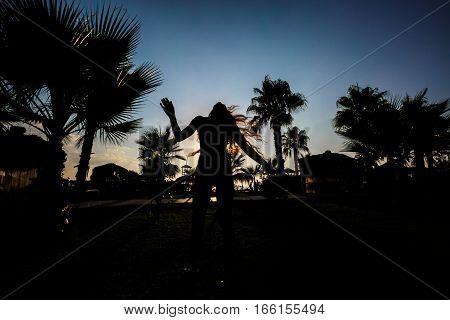 silhouette of a girl  on a background of palm trees