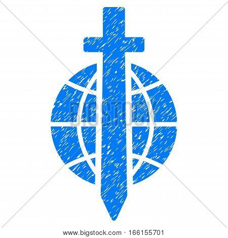 Sword Globe grainy textured icon for overlay watermark stamps. Flat symbol with dust texture. Dotted vector blue ink rubber seal stamp with grunge design on a white background.