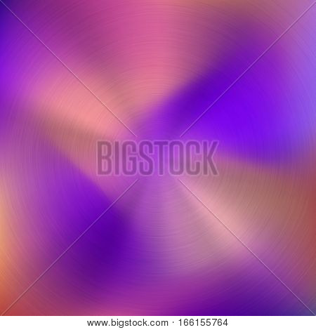 Metal abstract pink colorful gradient technology background with circular polished, brushed concentric texture, chrome, silver, steel, aluminum for design concepts, wallpapers. Vector illustration.