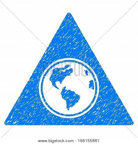 Terra Triangle grainy textured icon for overlay watermark stamps. Flat symbol with dirty texture. Dotted vector blue ink rubber seal stamp with grunge design on a white background.
