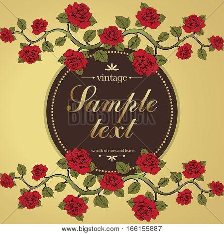 Flower Card, Cover, Flower Frame, Banner, Gold Border. Ornament With Roses And Label For Text. Vinta