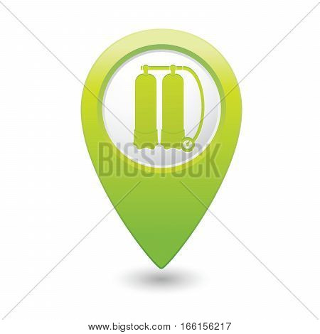 Map pointer with aqualung icon. Vector illustration