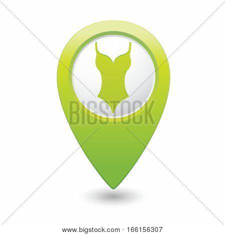 Swim suit icon on map pointer, vector illustration