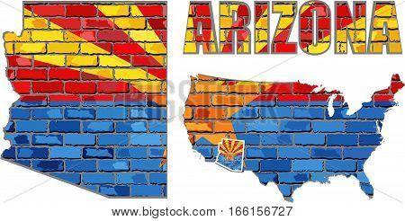 Arizona on a brick wall - Illustration, Arizona Flag painted on brick wall, Font with the Arizona flag,  Arizona map on a brick wall