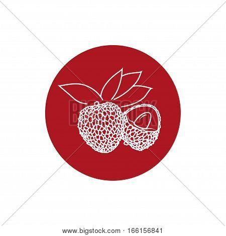 Lichee Colorful Round Icon, Lichi Fruit Icon