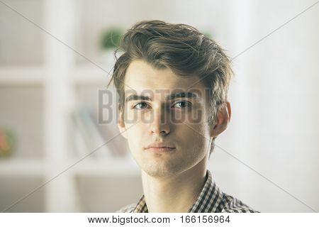 Close up portrait of handsome caucasian man