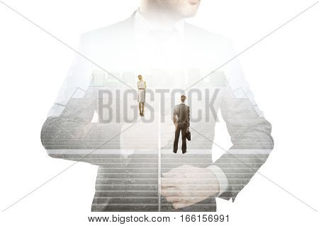 Abstract image of thoughtful businesspeople standing on concrete stairs with bright light. Success concept. Double exposure