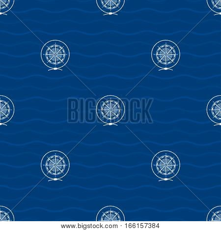 Seamless Pattern with a Compass Rose on a Background of Waves, a Wind Rose in the Middle of a Rope on a Blue Background,  Marine Element for Web Design or Wallpaper or Fabric