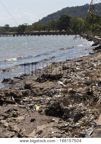 Pollution on the beach of tropical sea South East Asia