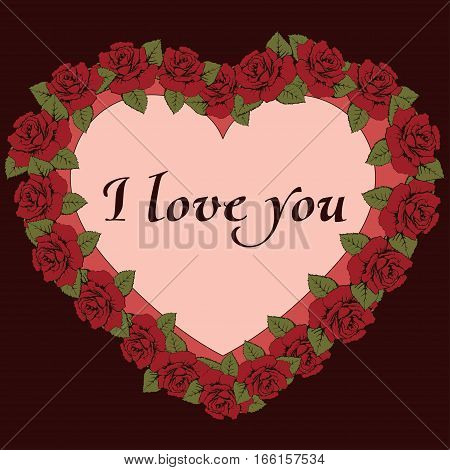 I Love You Banner. Vintage Frame A Heart Shaped With Roses Flowers And Label For Text. Card, Recogni